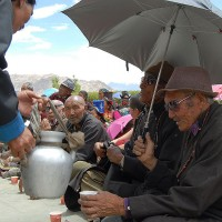 At the Dalai Lama's visit in Phe the Villagers supply Buttertea and Milk Rice