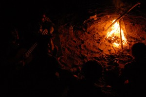 A Bonfire at the Banks of the Indus