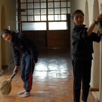 Also the floors are swept everyday, by Yangdol and Dolkar