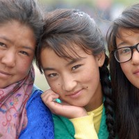 Yangchen, Choton and Tashi Dolkar