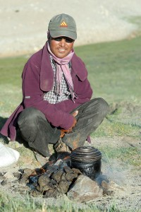A Pashmina Shepherd cooking his Tea
