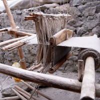 Weaving Stool, Making a Yak Wool Cloth which can be used as Blanket, Wall for Nomad Tents or anything else