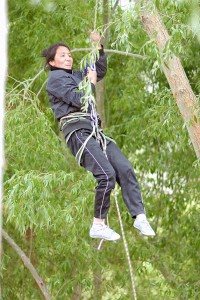 Tsetan on the Rope which Shara and I installed for Prussiking and Abseiling