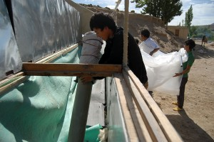 The new Biogas Tube, installed by Jigmet, Stanzin Shara and Nurboo Tun