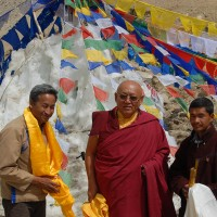 Presentations, Sonam Wangchuk, the Rinpoche and Stanzin Shara in front of the artificial glacier